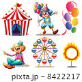A circus tent, clowns, ferris wheel, balloons and a ring of fire 8422217