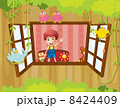 A boy waving at the window with birds 8424409