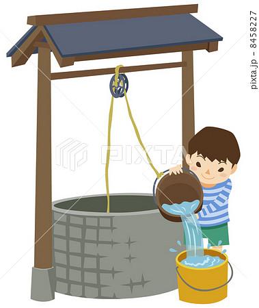 竪井戸の井戸水を使う男の子 8458227