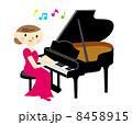 グランドピアノ ピアニスト 演奏のイラスト 8458915