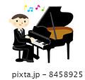 ピアニスト グランドピアノ 演奏のイラスト 8458925