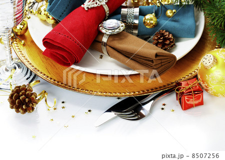 Christmas table place settingの写真素材 [8507256] - PIXTA