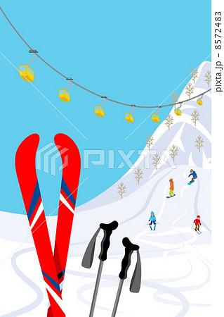 スキー場スキー板赤のイラスト素材 8572483 Pixta