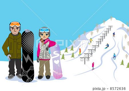 スノーボードカップルゲレンデのイラスト素材 8572636 Pixta