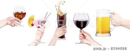 collage with alcohol cocktailsの写真素材 [8594098] - PIXTA