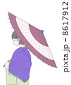 傘をさした着物の女性 冬 8617912