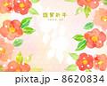 椿柄年賀状 8620834
