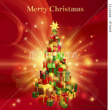 Red merry christmas gift tree design 8640731 pixta red merry christmas gift tree design negle Image collections