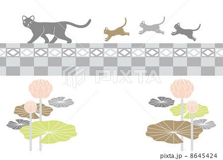 喪中寒中見舞い年賀欠礼はがきテンプレート(猫の親子とブロック塀と蓮の花) 8645424