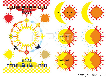 カットイラストデザイン素材集(月と太陽とキャッスル)カラフル 8653709