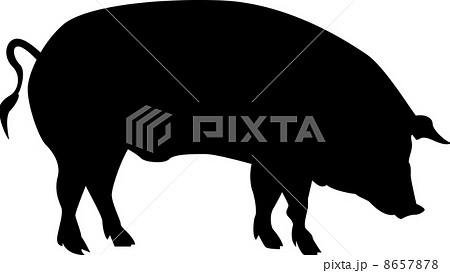 ブタのシルエットのイラスト素材 8657878 Pixta