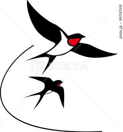 ... 素材: 二羽ツバメのシルエット