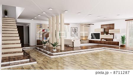 Interior of apartment panorama 3d renderのイラスト素材 [8711287] - PIXTA