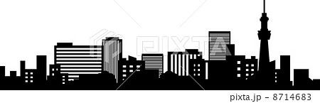 都会のビル群のシルエットのイラスト素材 [8714683] , PIXTA