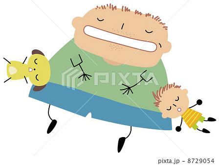 寝るお父さんと子供と犬のイラスト素材 8729054 Pixta