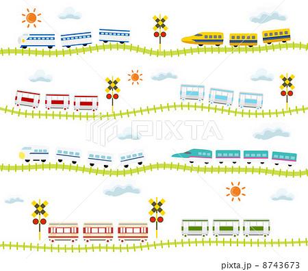 子供向け 可愛い 踏切のある線路を走る 電車のイラスト素材