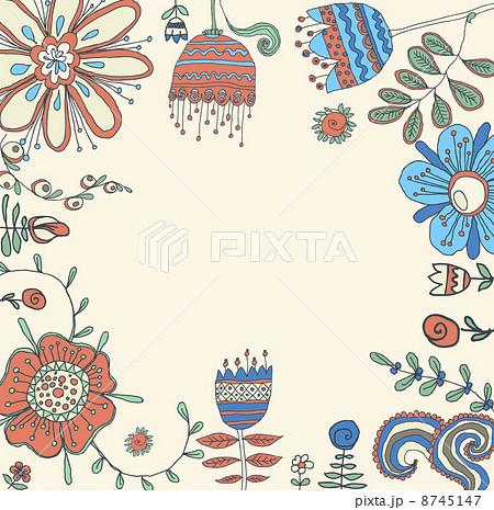 Vector retro floral background, frame 8745147