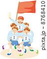 紅組 騎馬戦 運動会のイラスト 8768410