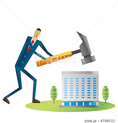 ビルを壊すビジネスマン