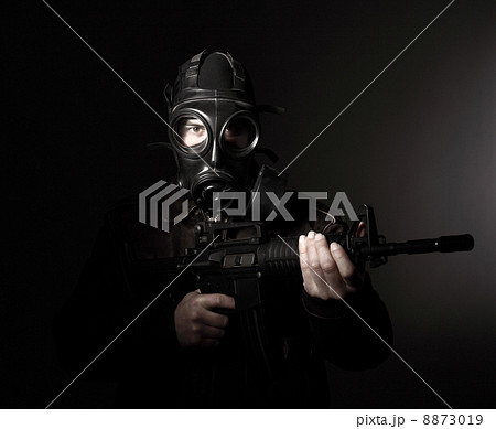 terrorist with gas mask 8873019