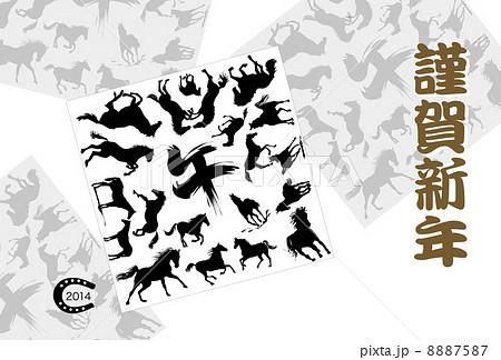 馬のイラスト年賀状テンプレート 8887587