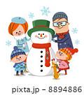 雪だるまとファミリー 冬 8894886