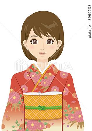 女性 振り袖 着物 成人式アニメ風シリーズのイラスト素材 8966538