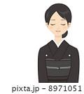 追悼 通夜 着物のイラスト 8971051