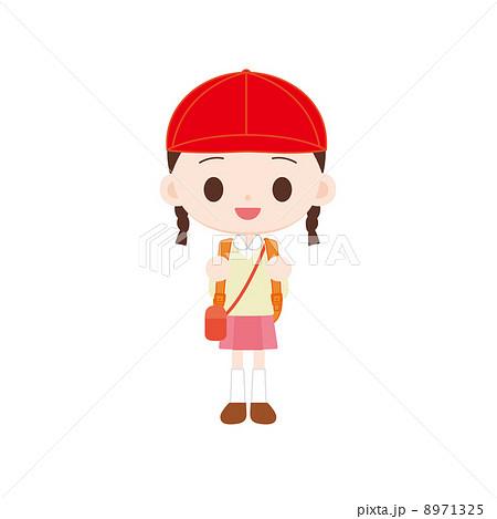 紅白帽の女の子 遠足 8971325