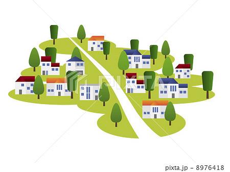 住宅街のイラスト素材 8976418 Pixta