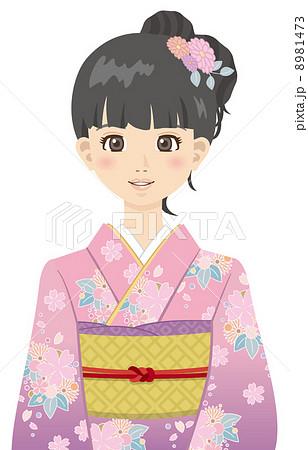 着物 正月 女性 振袖 振り袖 のイラスト素材 8981473 Pixta