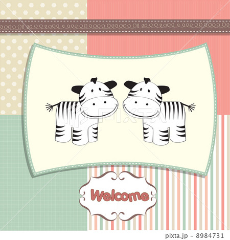 new baby twins arrived card with zebraのイラスト素材 [8984731] - PIXTA