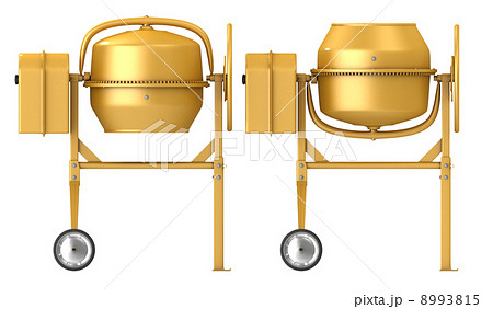 Clean new yellow concrete mixer with raised and lowered drumのイラスト素材 [8993815] - PIXTA