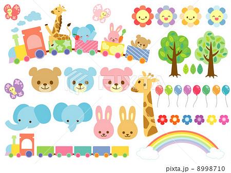 子供向け動物自然素材のイラスト素材 8998710 Pixta