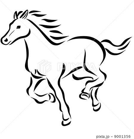 線画走り馬のイラスト素材 9001356 Pixta