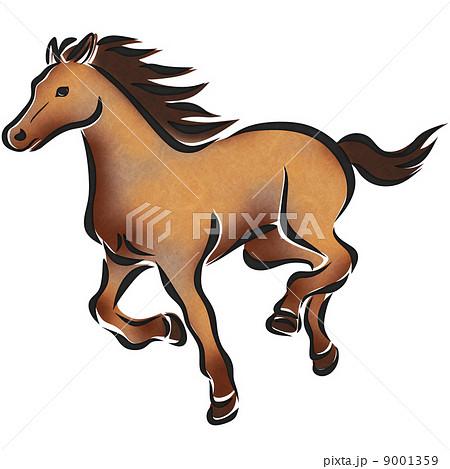 水彩風走り馬のイラスト素材 9001359 Pixta