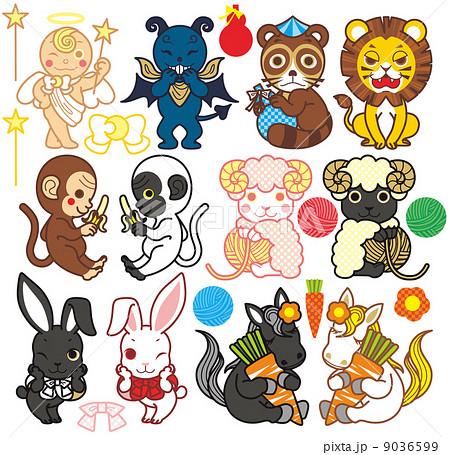 天使と悪魔と動物キャラクター(狸・ライオン・猿・羊・うさぎ・馬)カラフルデフォルメポップ 9036599