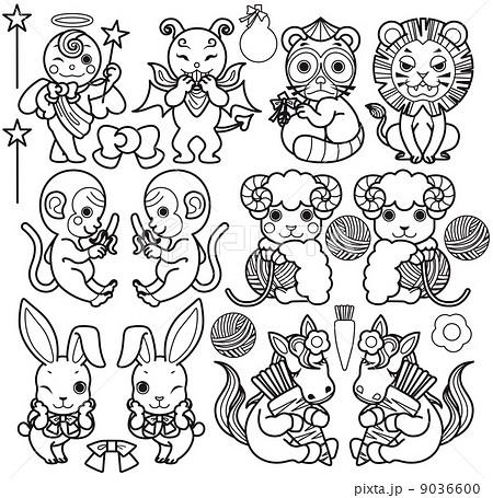 天使と悪魔と動物キャラクター(狸・ライオン・猿・羊・うさぎ・馬)モノクロ線画ぬりえ 9036600