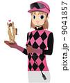 注意)女子騎手ジョッキーの衣装や馬具は正確ではありません。 9041857