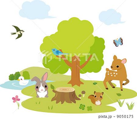 動物たちがいる森の風景のイラスト素材 9050175 Pixta