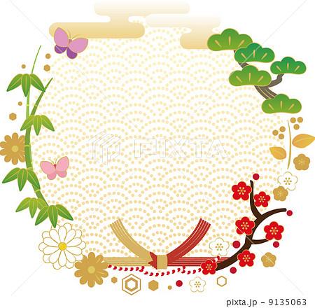 お正月の華やかな丸型フレームのイラスト素材 9135063 Pixta