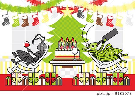 クリスマスカード用イラスト「アリとキリギリスのChristmas holidays」ポストカードサイズ 9135078