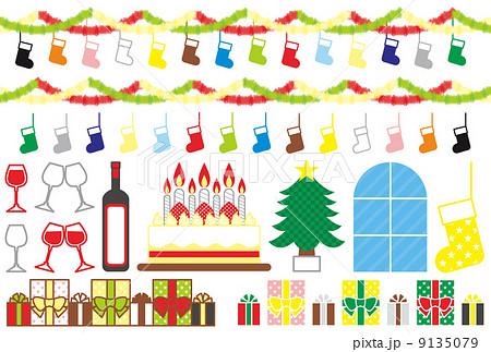 クリスマス用イラストカット素材集(靴下・飾りつけ・ワイン・ケーキ・クリスマスツリー・プレゼント)カラフル 9135079