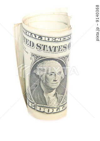 One dollar bill roll isolated on whiteの写真素材 [9140368] - PIXTA