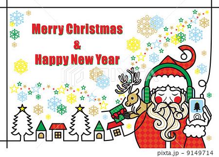 クリスマスカード用イラスト「音楽を聴くサンタクロースとトナカイのプレゼント」Merry Christmas and Happy New Year 9149714