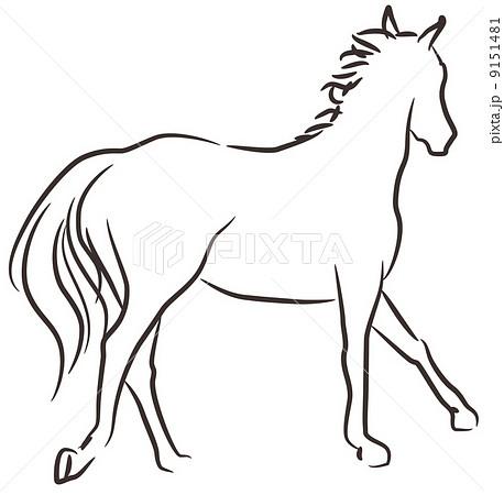 馬のイラスト モノクロのイラスト素材