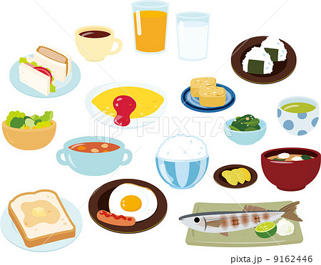 朝食のいろいろなメニュー 9162446
