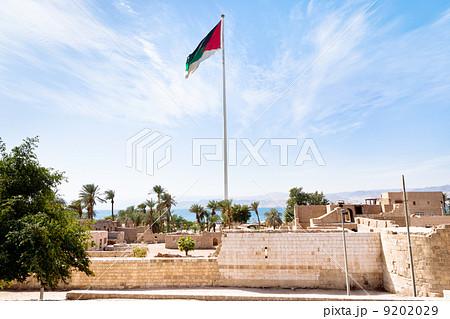 The Aqaba Flagpole under ruins of medieval Mamluks fort 9202029