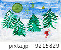 child's paiting - winter forest and Santa Claus 9215829