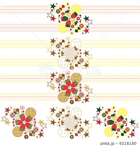 ワンポイントカットイラストデザイン装飾素材「イチゴとクッキーと星」3種類セット 9328180